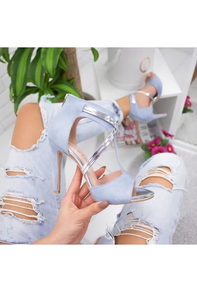 Limoya Moneo Bebek-Mavisi Süet Platin İnce Topuklu Ayakkabı