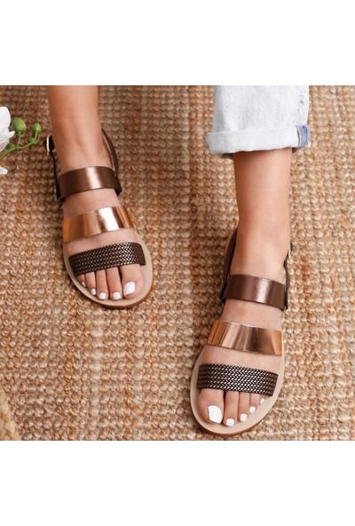Limoya Cadence Kahve Roze Hakiki Deri Greek Sandalet