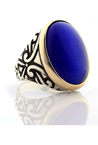 Hanzade Gümüş 925 Ayar Gümüş Koyu Mavi Kedi gözü Taşlı Erkek Yüzük