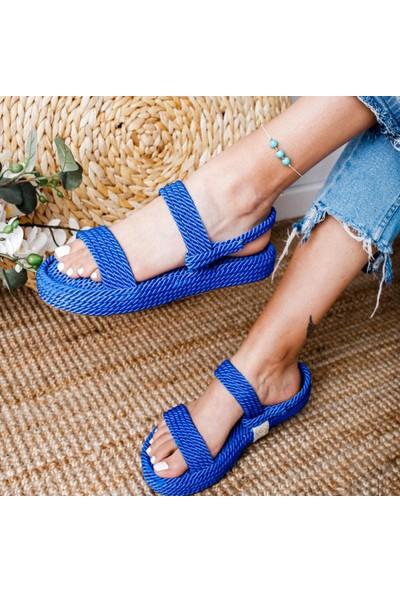 Limoya Kelli Sax-Mavi Tek Bantlı Kalın Tabanlı Halat Sandalet