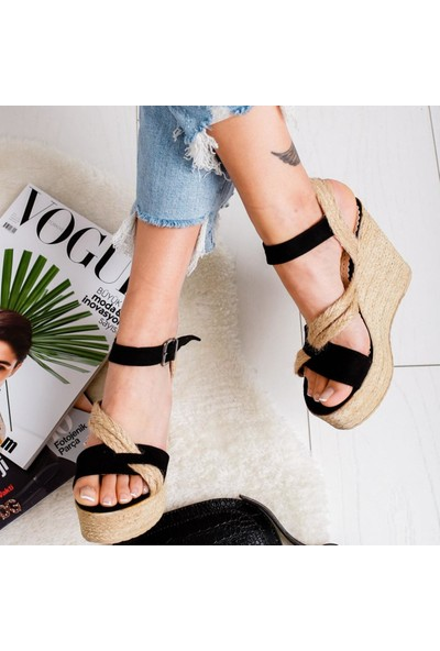 Limoya Nataly Siyah Süet Dolgu Topuklu Hasırlı Sandalet