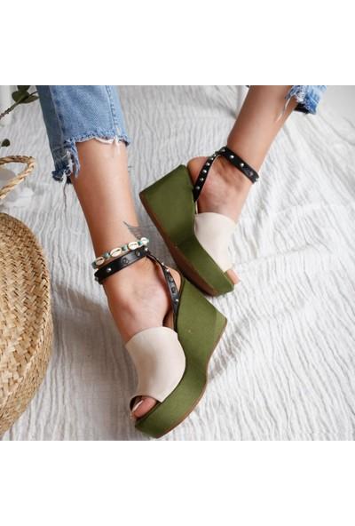 Limoya Heaven Yeşil süet Ten Siyah Zımba Detaylı Dolgu Topuklu Sandalet