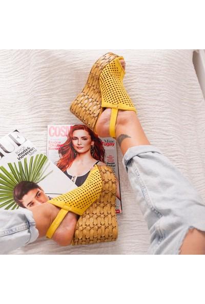 Limoya Oakley Limon Süet Lazer Delikli Dolgu Topuklu Sandalet