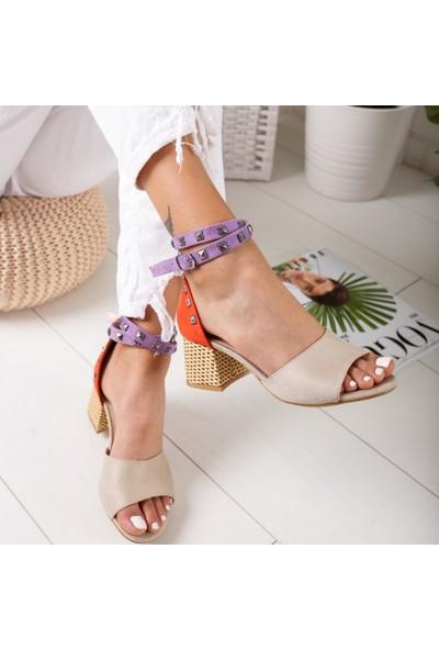Limoya Madeline Portakal Lila Ten Zımbalı Alçak Kalın Topuklu Sandalet