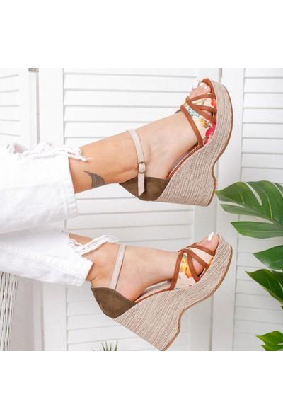 Limoya Miriam Haki Taba Ten Çiçek Motifli Çizgili Keten Dolgu Tabalı Sandalet