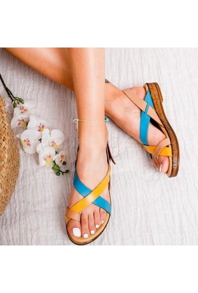 Limoya Emmalee Hardal Ten Gökmavi Hakiki Deri Comfort Sandalet
