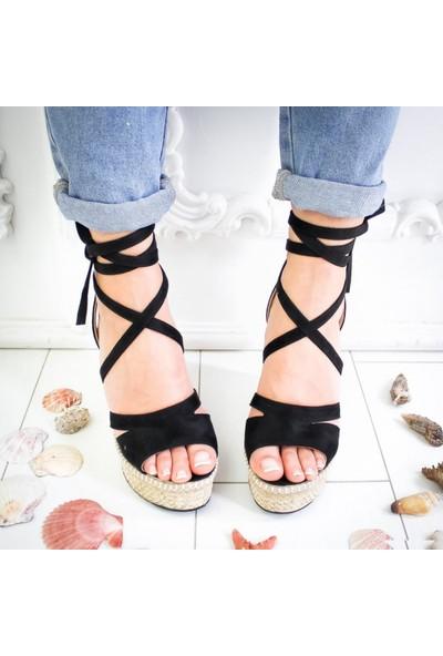Limoya Shreya Siyah Süet Yüksek Dolgu Topuklu Bilekten Bağlamalı Sandalet
