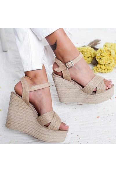 Limoya Mandy Hasır Dolgu Topuklu Günlük Sandalet