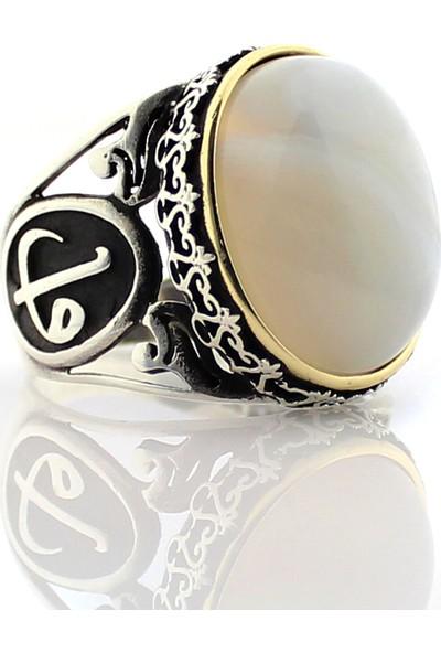 Hanzade Gümüş 925 Ayar Gümüş solimani fildişi rengi Akik Taşlı Erkek Yüzük