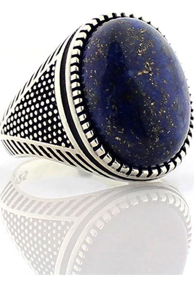 Hanzade Gümüş 925 Ayar Gümüş Lapis Lazuli Taşlı Erkek Yüzük