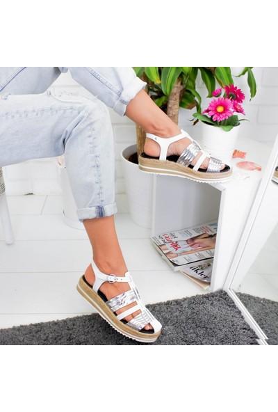 Limoya Tinsley Beyaz Gümüş Kalın Hasır Tabanlı Hakiki Deri Sandalet