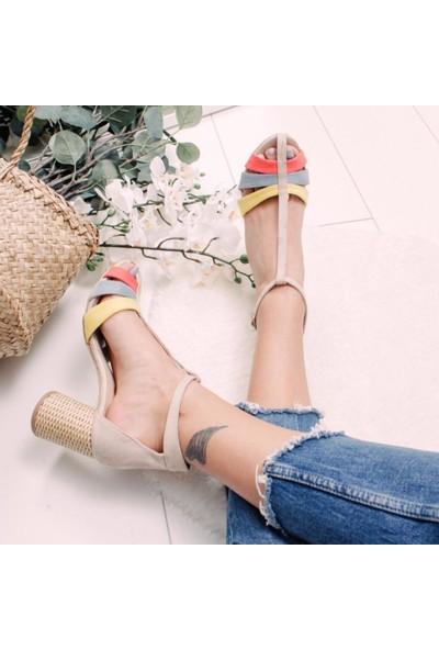 Limoya Danna Ten Rengi Hasır Topuklu Burnu Kapalı Sandalet