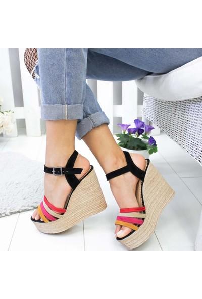 Limoya Amaris Siyah Süet Multi Dört Bantlı Dolgu Topuklu Sandalet