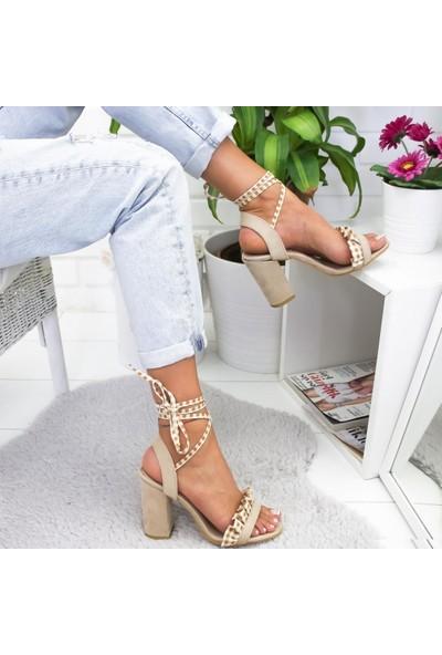 Limoya Elaine Ten Süet Fırfırlı Bilekten Bağlamalı Kalın Topuklu Sandalet