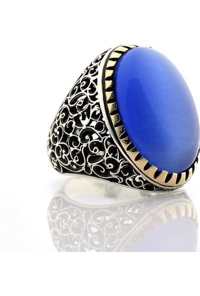 Hanzade Gümüş 925 Ayar Gümüş Mavi Kedi gözü Taşlı Erkek Yüzük