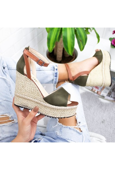Limoya Kathy Haki Süet Dolgu Topuklu Sandalet