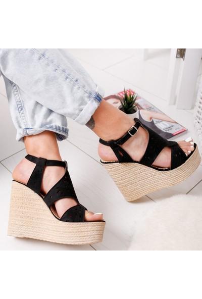 Limoya Everleigh Siyah Süet Dolgu Topuklu Lazer Desenli Sandalet