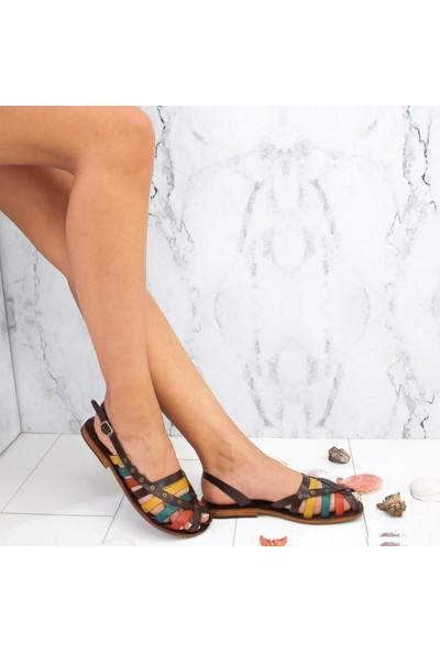 Limoya Madeline Multi Renkli Hakiki Deri Gerçek Kösele Tabanlı Burnu Kapalı Bodrum Sandaleti (Bodrum Üretimi)
