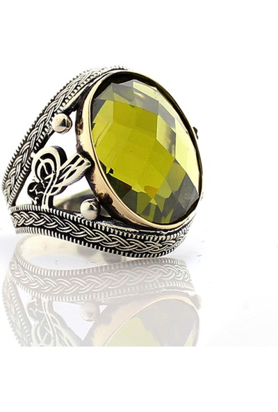 Hanzade Gümüş 925 Ayar Gümüş Sarı Zirkon Taşlı Erkek Yüzük