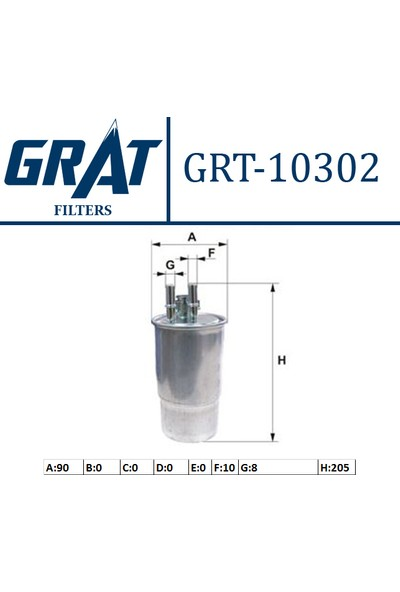 "Grat Yakıt Filtresi Fiat Doblo 1.9Jtd 01 Fiorino 1.3D Mtj 08 Grtnde Punto 1.3D Mtj 05 Punto Evo ""3 Çıkışlı"" Grt 10302"