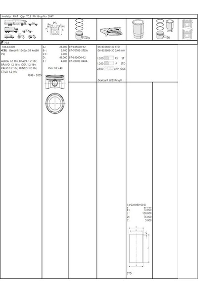 Mahle Piston Segman 0.40 70.8 Mm Fiat Punto Palio Albea 1.2 16V Mah 009 70 01