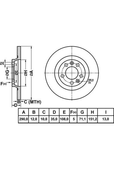 Mga Fren Disk Arka Düz 290 5 Peugeot 407 04 Citroen C5 08 Mga 50153