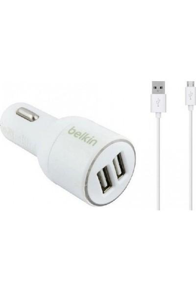 Belkin Çift USB Araç Oto Şarjı Çakmaklık + Micro USB Kablo Beyaz