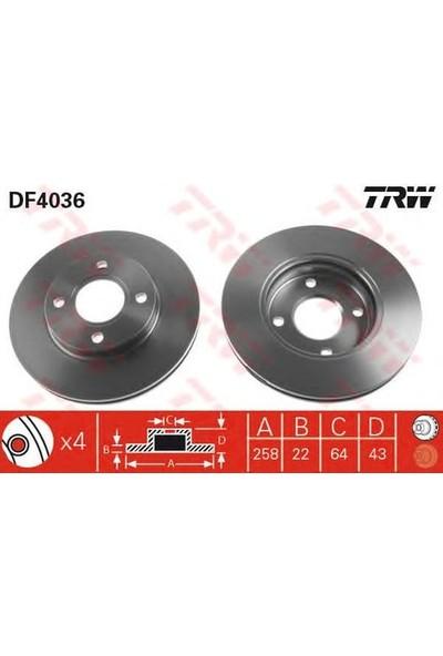 Trw Fren Diski Ön 4D 258Mm Focus 98 Fıesta 00