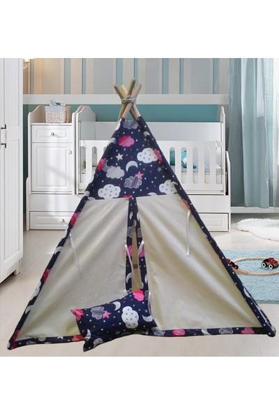 Altev Ahşap Çoçuk Çadırı Kızılderili Çadırı Oyun Evi Kamp Çadırı - Gökyüzü