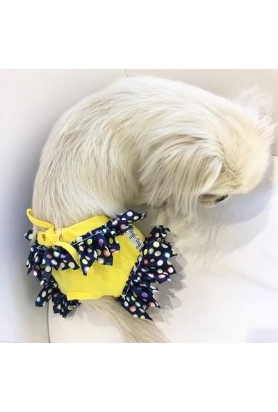 Dogi & Dog Sarı Fırfırlı Regl Köpek İç Çamaşırı - Köpek Kıyafeti