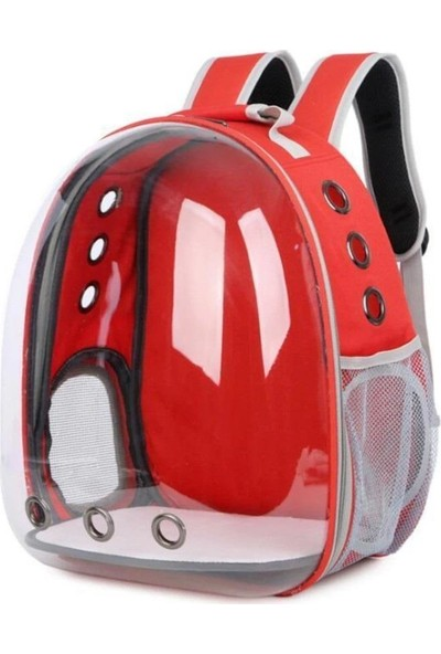 Miapet Şeffaf Astronot Kedi Köpek Taşıma Çantası 42 x 22 x 33 cm Kırmızı