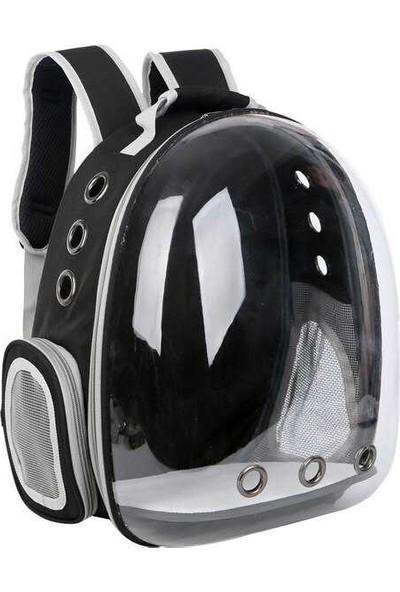 Miapet Şeffaf Astronot Kedi Köpek Taşıma Çantası 42 x 22 x 33 cm Siyah