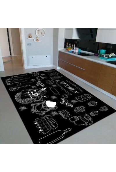 Rugviva Kaymaz Tabanlı Halı Mutfak MT09 Siyah