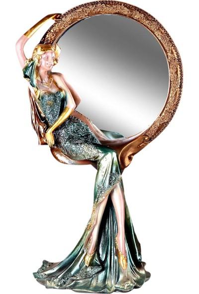 Fidex Home Feminen Kadın Makyaj Aynası Yuvarlak Azure Yeşil