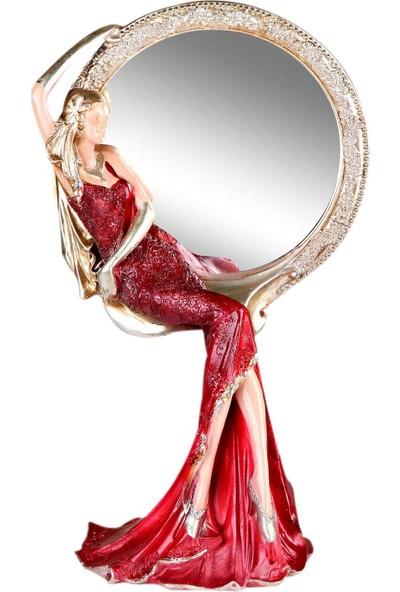 Fidex Home Feminen Kadın Makyaj Aynası Yuvarlak Kırmızı Elbiseli