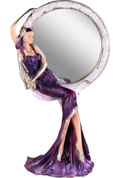 Fidex Home Feminen Kadın Makyaj Aynası Yuvarlak Mor Elbiseli