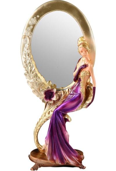 Fidex Home Feminen Kadın Makyaj Aynası Oval Mor Elbiseli