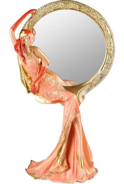 Fidex Home Feminen Kadın Makyaj Aynası Yuvarlak Somon Renkli