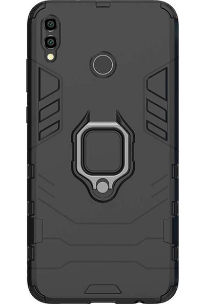 Microcase Huawei Honor 8x Batman Serisi Yüzük Standlı Armor Kılıf - Siyah