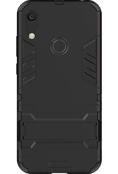 Microcase Huawei Y6 2019 Alfa Serisi Armor Standlı Perfect Protect Koruma Kılıf - Siyah