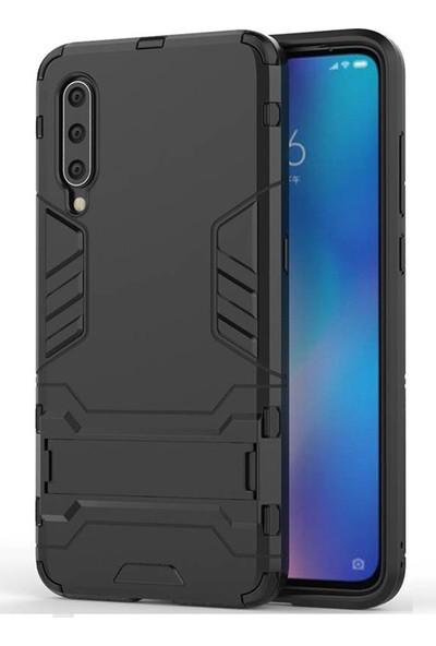 Microcase Xiaomi Mi 9 Explorer Alfa Serisi Armor Standlı Perfect Protect Koruma Kılıf - Siyah