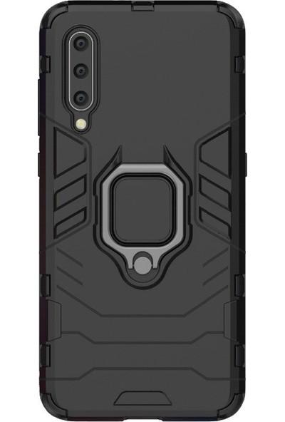 Microcase Xiaomi Mi 9 Explorer Batman Serisi Yüzük Standlı Armor Kılıf - Siyah