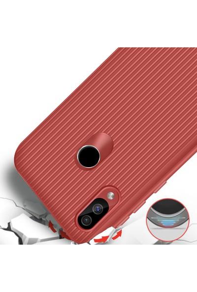 Liontech Samsung Galaxy A30 Kılıf Striped Soft Tio Silikon Kapak + Nano Ekran Koruma Kırmızı