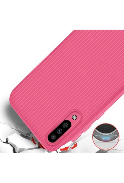 Liontech Samsung Galaxy A50 Kılıf Striped Soft Tio Silikon Kapak Pembe