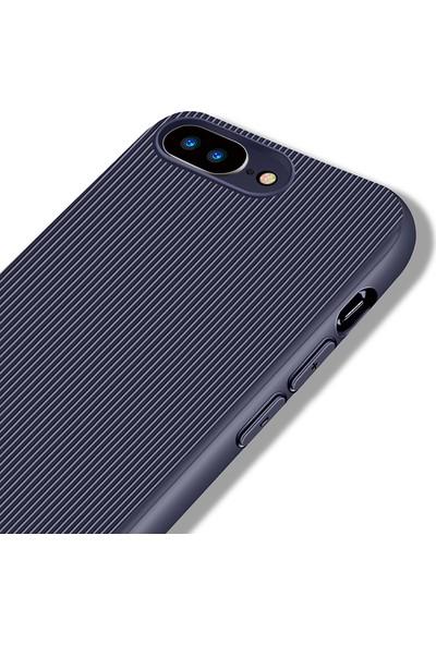 LionTech Apple iPhone 7 Plus Kılıf Striped Soft Tio Silikon Kapak Lacivert