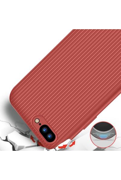 LionTech Apple iPhone 7 Plus Kılıf Striped Soft Tio Silikon Kapak Kırmızı