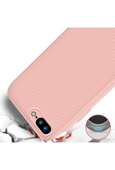LionTech Apple iPhone 7 Plus Kılıf Striped Soft Tio Silikon Kapak Açık Pembe