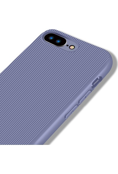 LionTech Apple iPhone 7 Plus Kılıf Striped Soft Tio Silikon Kapak Mor