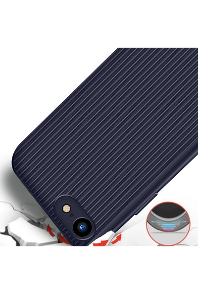 LionTech Apple iPhone 7 Kılıf Striped Soft Tio Silikon Kapak Lacivert