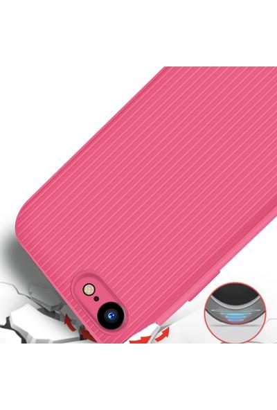 LionTech Apple iPhone 7 Kılıf Striped Soft Tio Silikon Kapak Pembe